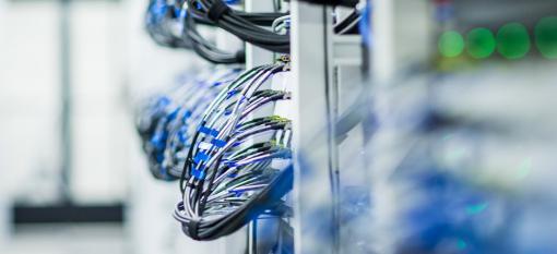 Close-up of data storage wires